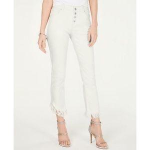 INC Women's Tulip Hem Jeans White 10